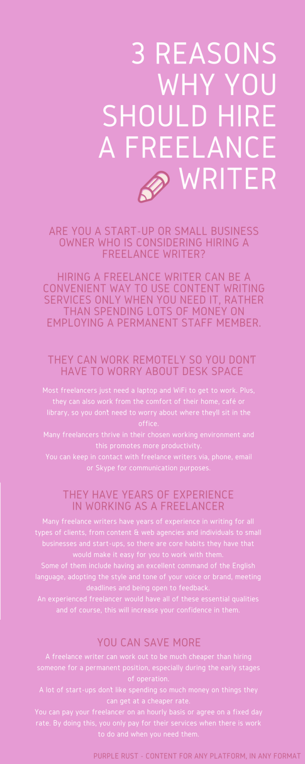 3 REASONS WHY YOU SHOULD HIRE A FREELANCE WRITER - INFOGRAPHIC - PURPLE RUST - ANNE ARTS